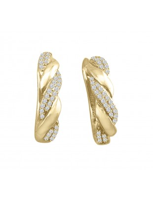1/5ct Round Pave Diamond 10k Yellow Gold Twist Latch Back Earrings