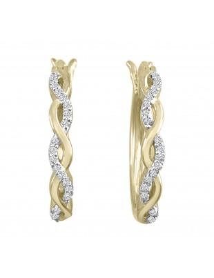 1/10ct Pave Diamond 10k Yellow Gold Infinity Twist Latch Back Earrings