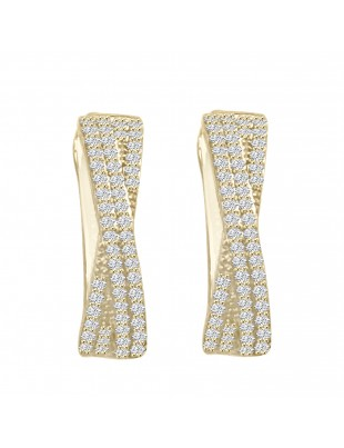 1/4ct Round Pave Diamond 10k Yellow Gold Twist Latch Back Earrings