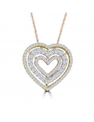 3/8ct Round Diamond 10k Tri Color Gold 3 Row Heart Pendant Necklace