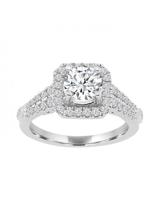 Lab Grown Diamond Halo Engagement Ring 0.50 CTW 14k White Gold