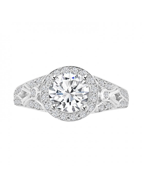 Lab Grown Diamond Semi Mount Halo Engagement Ring 0.63 CTW 14k White Gold