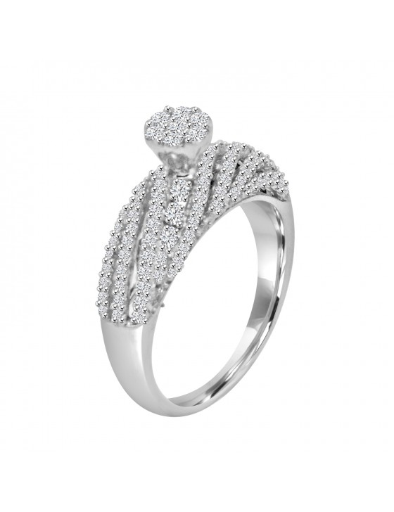 0.88ct Lab Grown Diamond 18k White Gold Cluster Anniversary Band Ring