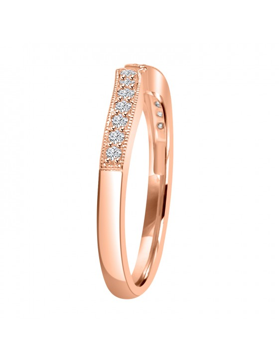 1/4 ct Round Diamond 14k Rose Gold Curved Contoured Shadow Band Ring