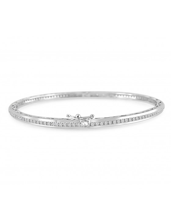1.00ct Natural Round Diamond 14k White Gold Ladies Bangle Eternity Bracelet 11.2 Gram