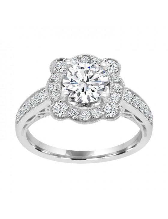 1/2ct Lab Grown Diamond 14k Gold Semi Mount Floral Milgrain Engagement Ring