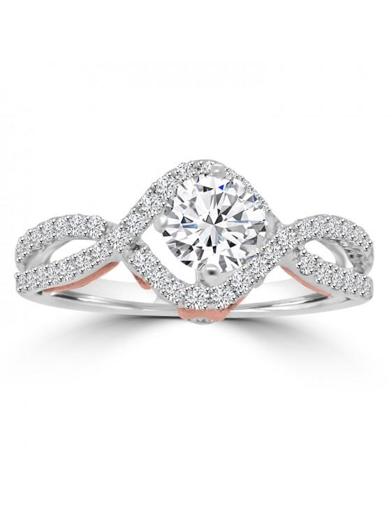 1/2ct Lab Grown Diamond 14k TT Gold Semi Mount Twist Engagement Ring
