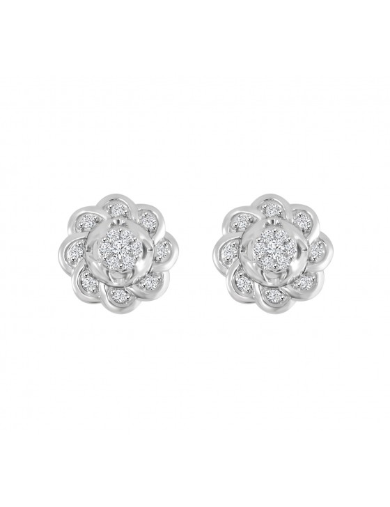 1/5ct Round Diamond 10k White Solid Gold Cluster Flower Stud Earrings