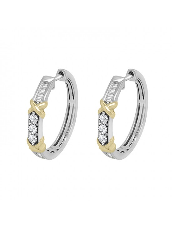 1/4ct Round & Baguette Diamond 14k Two Tone Gold X Hoop Earrings