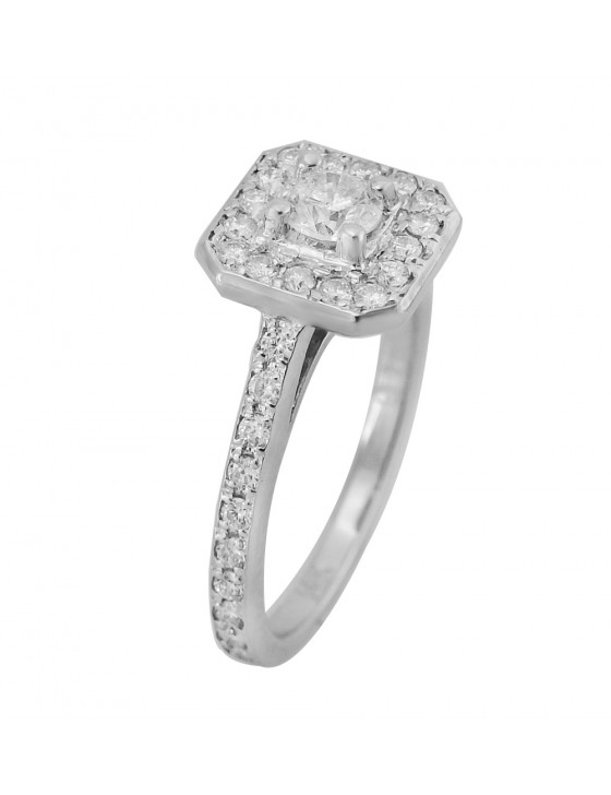 3/4ct Round Diamond 14k White Gold Solitaire Square Halo Engagement Ring
