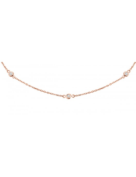 Diamonds By The Yard 0.25 carat Bezel Set 14k Rose Gold Station Necklace