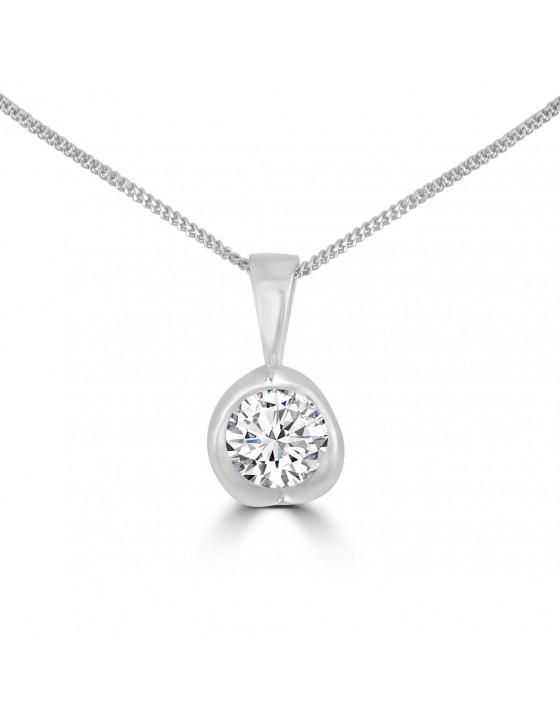 1/2ct Round Diamond 14k White Gold Tension Set Solitaire Pendant Necklace