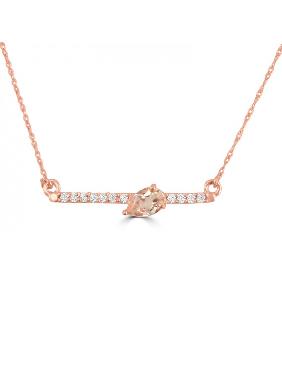 1/2ct Pear Morganite & Diamond 14k Rose Gold Bar Pendant Necklace