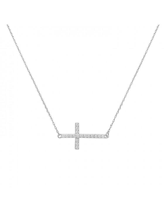 1/5ct Round Diamond 10k White/Yellow Gold Sideways Cross Necklace