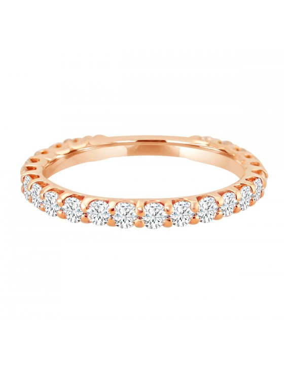 1.00ct Round Cut Diamond 14k Rose Gold Eternity Wedding Band Ring