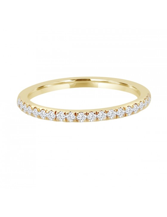 1/4ct Pave Diamond 14k Yellow Gold Comfort Fit Wedding Band Anniversary Ring