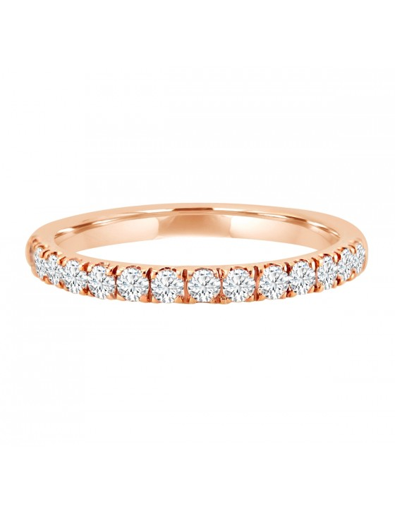1/2ct Round Cut Diamond 14k Rose Gold Half Eternity Wedding Anniversary Band Ring