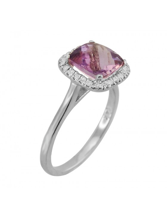 1.84ct Cushion Amethyst & Pave Diamond 14k White Gold Halo Solitaire Ring
