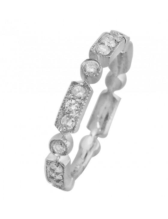 1/2ct Round Diamond 14k White Gold Stackable Milgrain Wedding Band Ring
