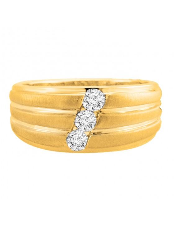1/3ct Round Diamond 10k Yellow Gold Diagonal 3 Stone Wedding Band Ring 10mm