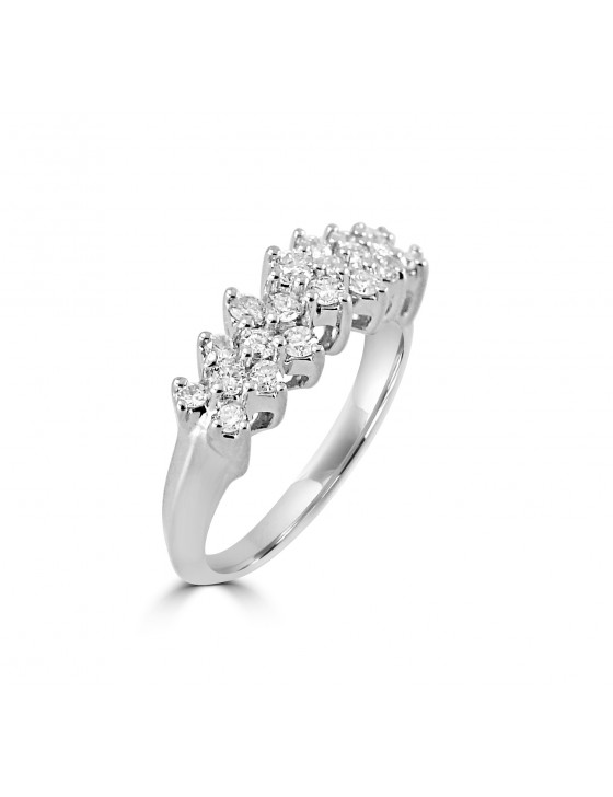 1.00ct Cluster Round Diamond 14k White Solid Gold Pyramid Ring