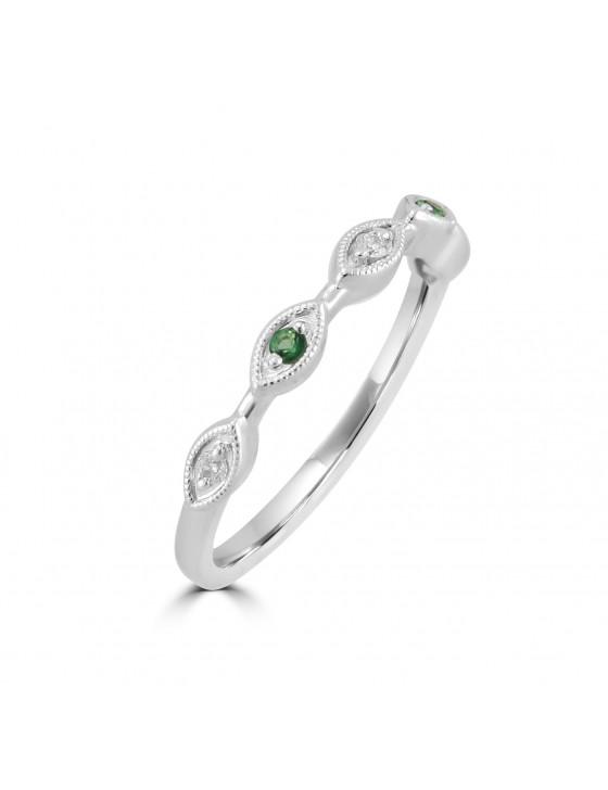 Diamond & Emerald 10k White Gold Marquise Shape Milgrain Wedding Band Ring