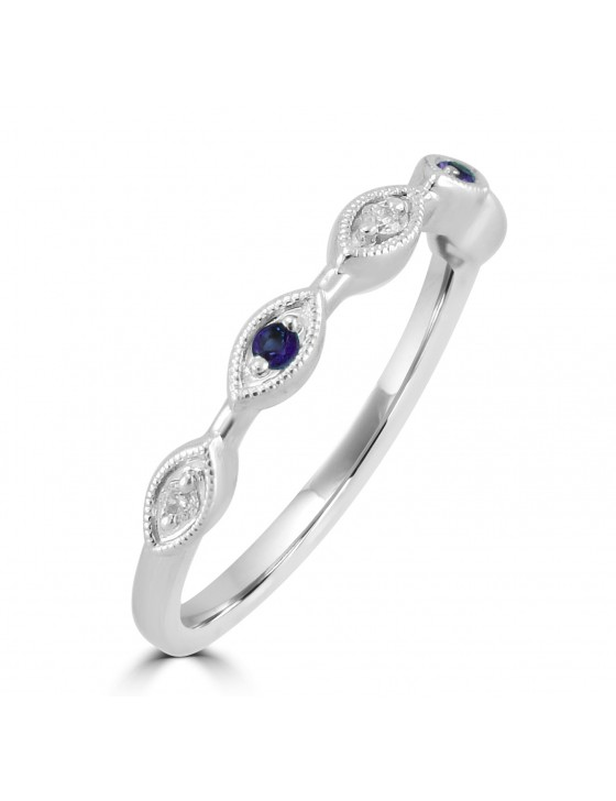Diamond & Sapphire 10k White Gold Marquise Shape Milgrain Wedding Band Ring