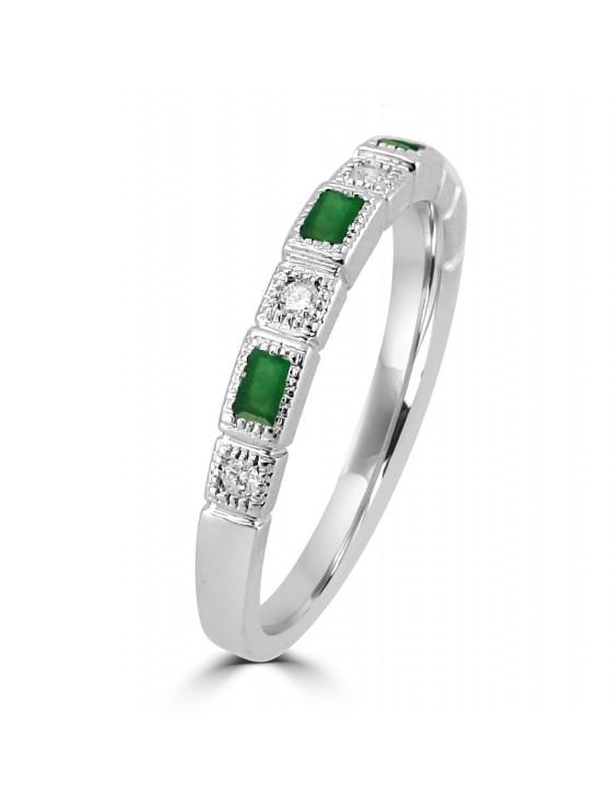 1/3cttw Baguette Emerald & Round Diamond 10k Gold Milgrain Wedding Band Ring