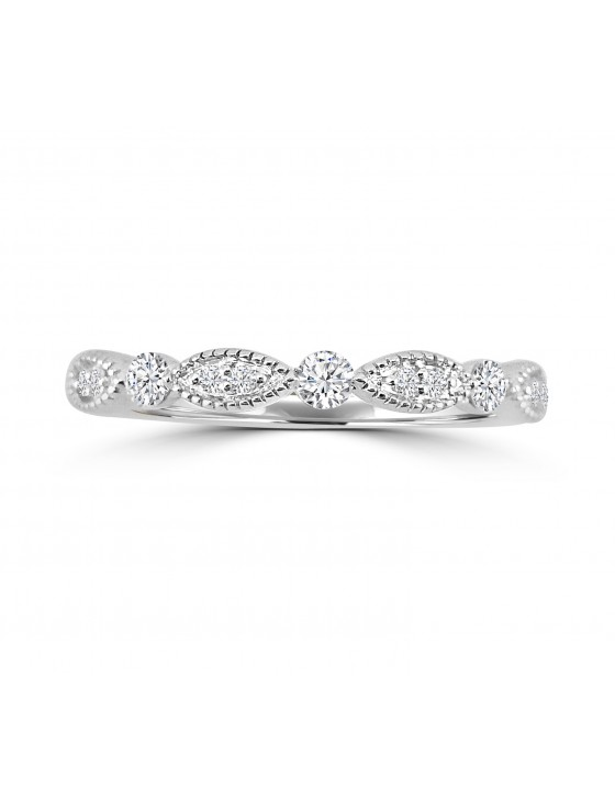 1/5ct Diamond 10k White Gold Milgrain Marquise and Dot Wedding Band Ring