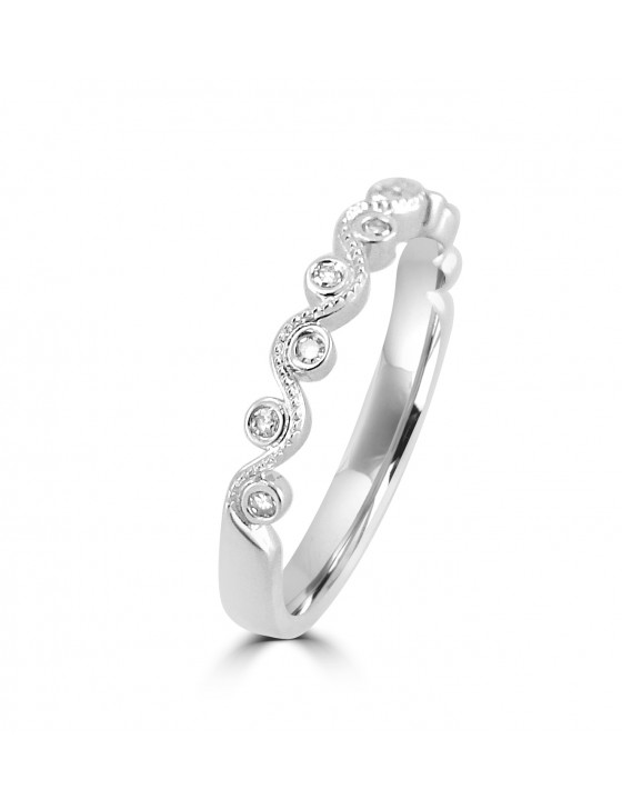 Bezel Set Diamond 10k White Gold Milgrain Stackable Wave Band Ring