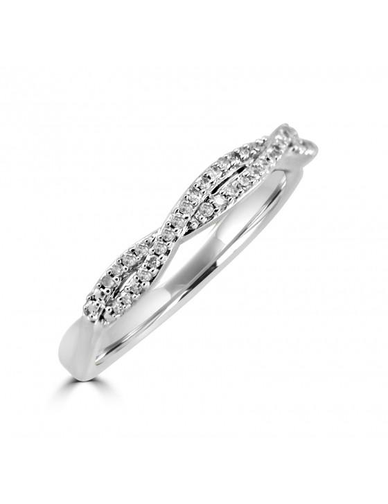1/10ct Diamond 10k White Gold Infinity Twist Wedding Anniversary Band Ring