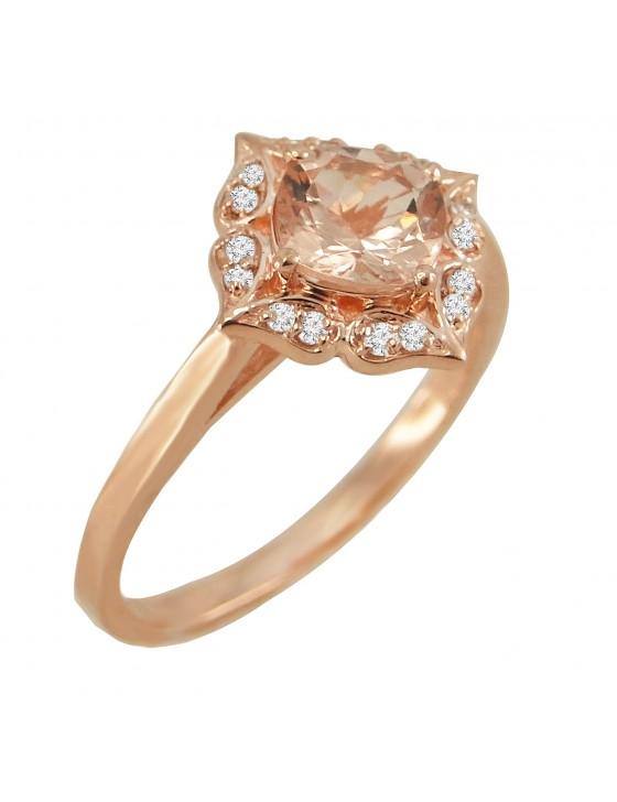 1.00ct Diamond & Morganite 14k Rose Gold Floral Engagement Ring