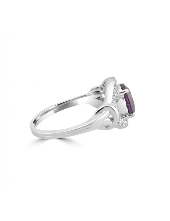 1.55ct Round Amethyst & Diamond 14k White Gold Evil Eye Ring