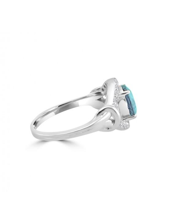1.75ct Round Blue Topaz & Diamond 14k White Gold Evil Eye Ring