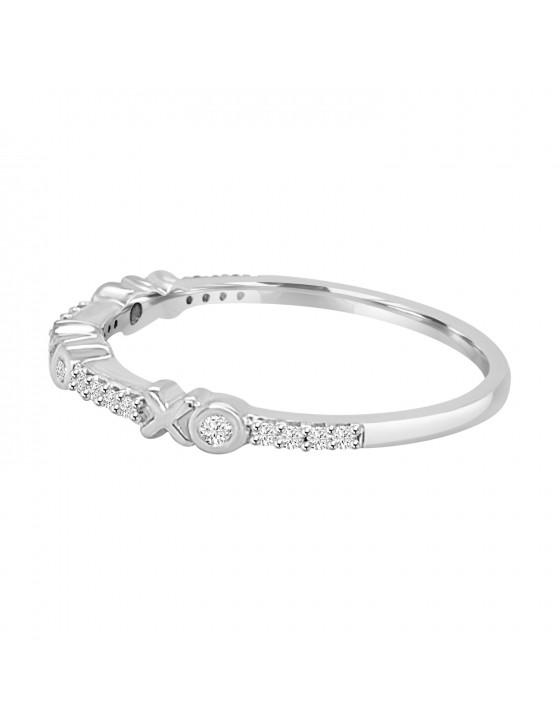 1/10ct Diamond 10k White/Yellow/Rose Gold XO Stackable Band Ring