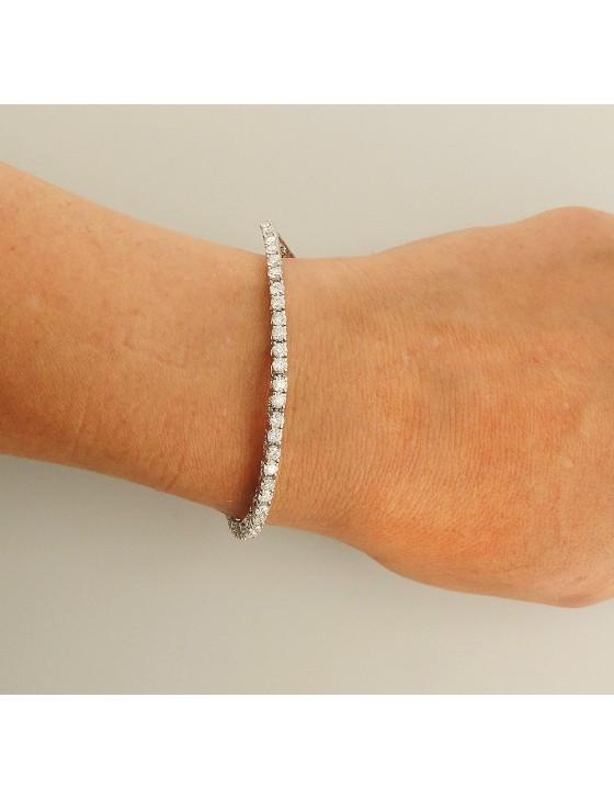 4.00ct Natural Round Diamond 14k White Gold Ladies Tennis Bracelet 7 Inch