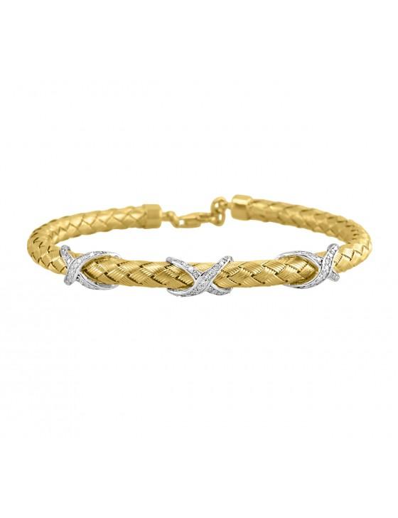1/4ct Round Diamond 14k TT Gold X Design Basket Weave Bangle Bracelet 12.5 Gram