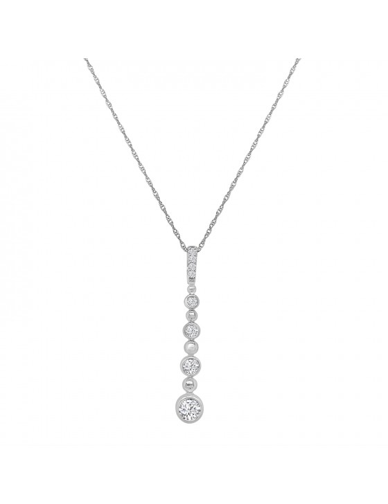 1/4ct Bezel Set Diamond 10k White Gold Graduated Drop Pendant Necklace
