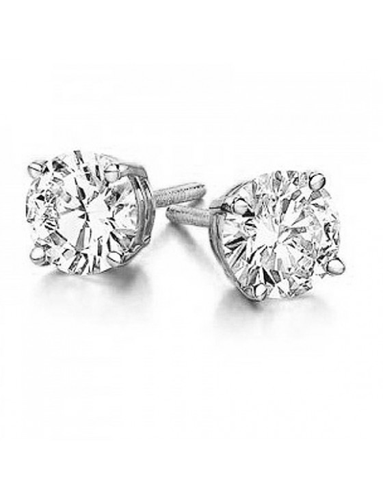 1.00ct Natural Solitaire Round Diamond 14k White Gold 4 Prong Stud Earrings
