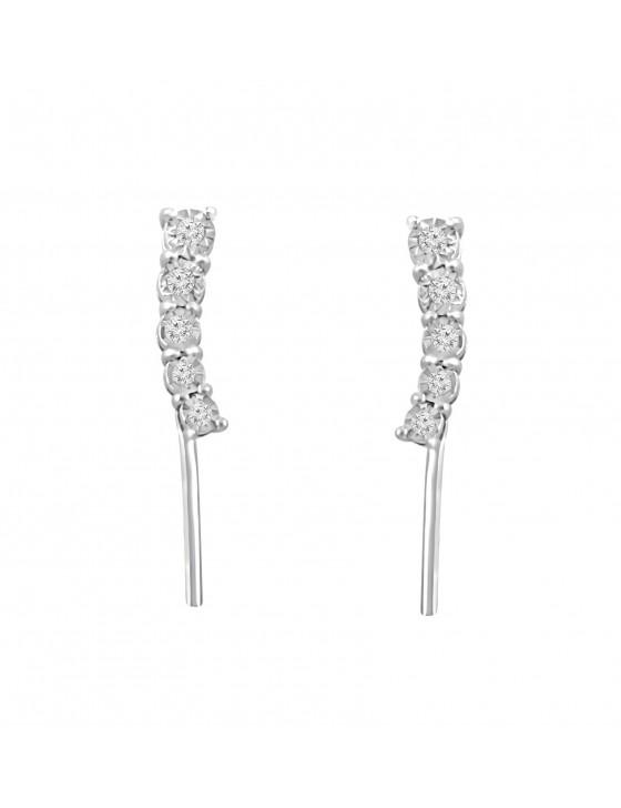 1/10ct Graduated Journey Diamond 10k White Gold Climber Earrings
