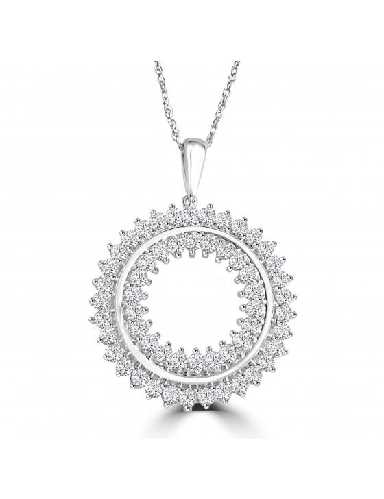 1/2ct 2 Row Miracle Set Diamond 10k White Gold Open Circle Pendant Necklace
