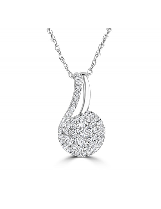 1/3ct Round Diamond 10k White Gold Cluster Swirl Pendant Necklace