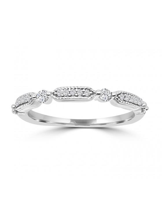1/5ct Round Diamond 10k White Gold Milgrain Dot Wedding Band Ring