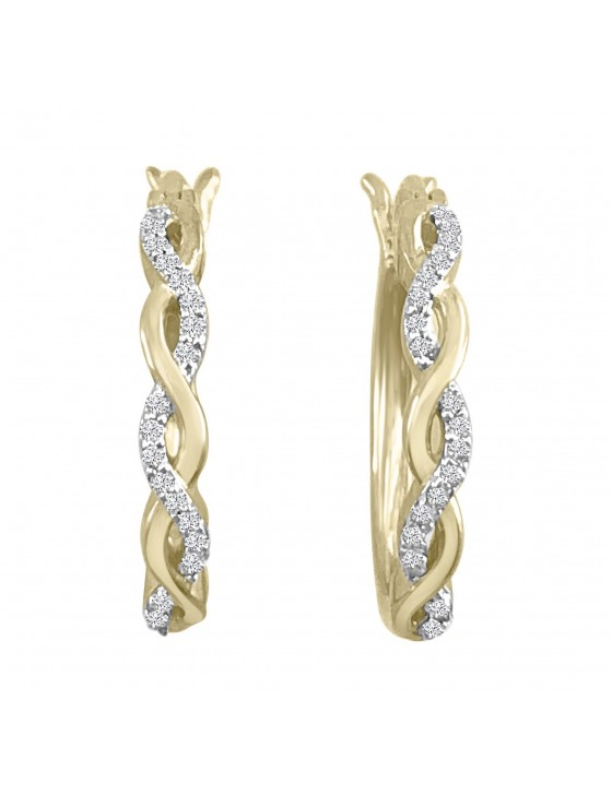 1/10ct Pave Diamond 10k Yellow Gold Infinity Twist Latch Back Earrings