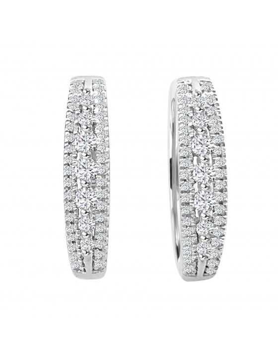 1/2ct Round Diamond 10k White Gold Latch Back Small Hoop Earrings