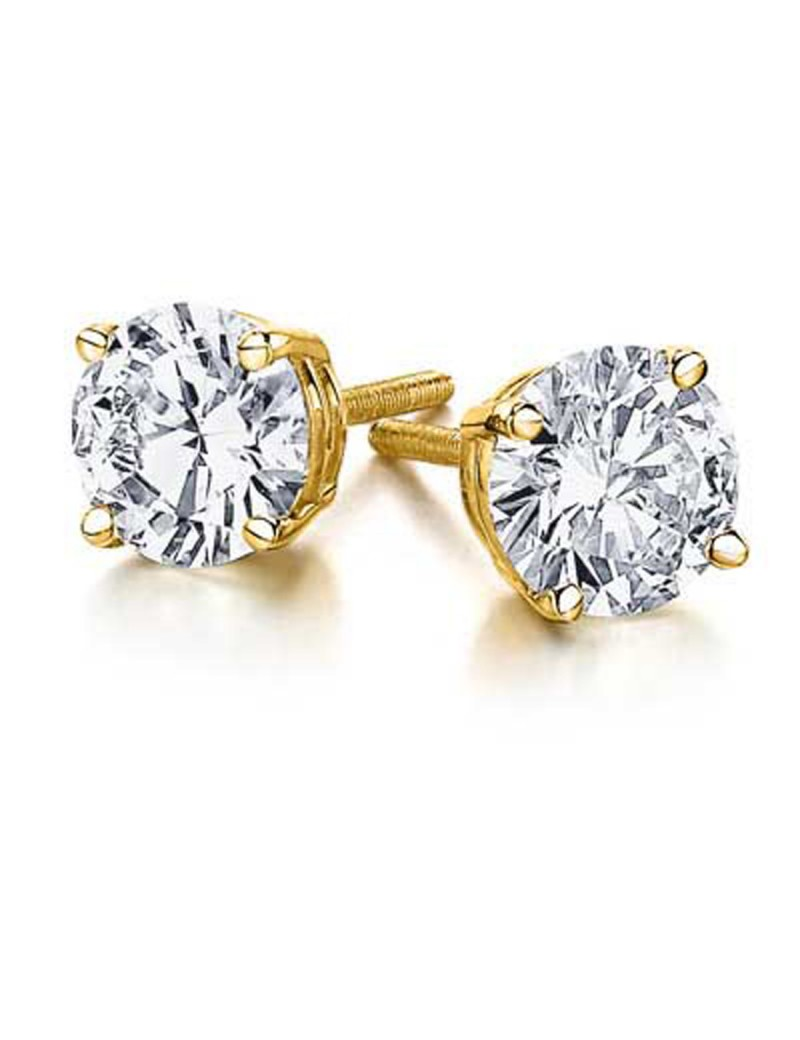 1 00ct Round Brilliant Diamond 14k Yellow Gold Stud Earrings Backs