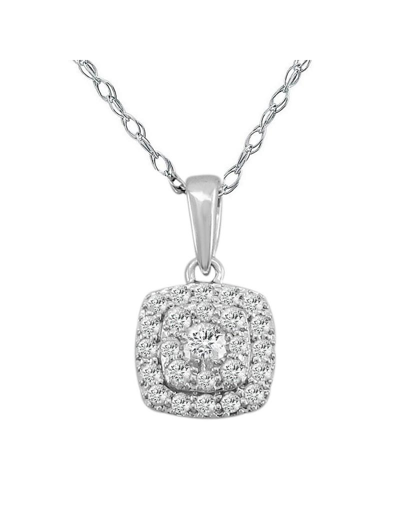 0 35ct Round Diamond 14k White Gold Square Pendant Necklace