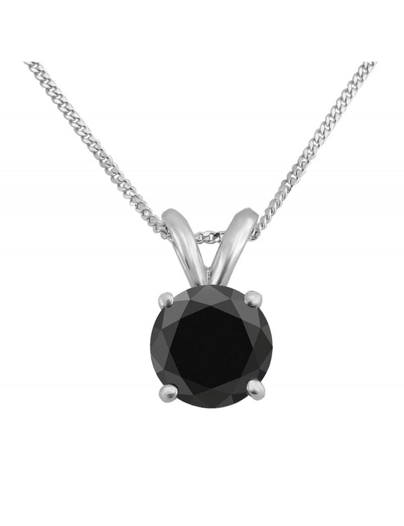 0.25 Carat 14K White Gold Black Diamond 6 Prong Solitaire Necklace /& Chain