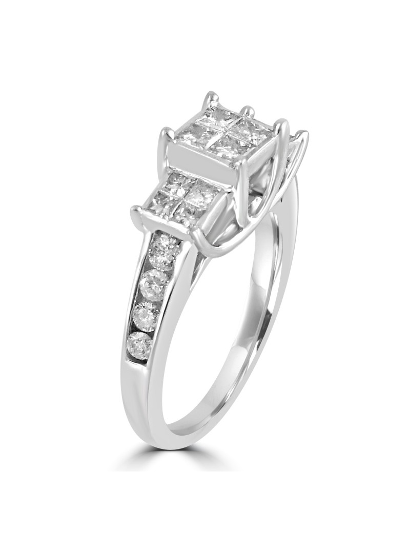 1 00ct Invisible Set Princess Cut Diamond 10k White Gold 3