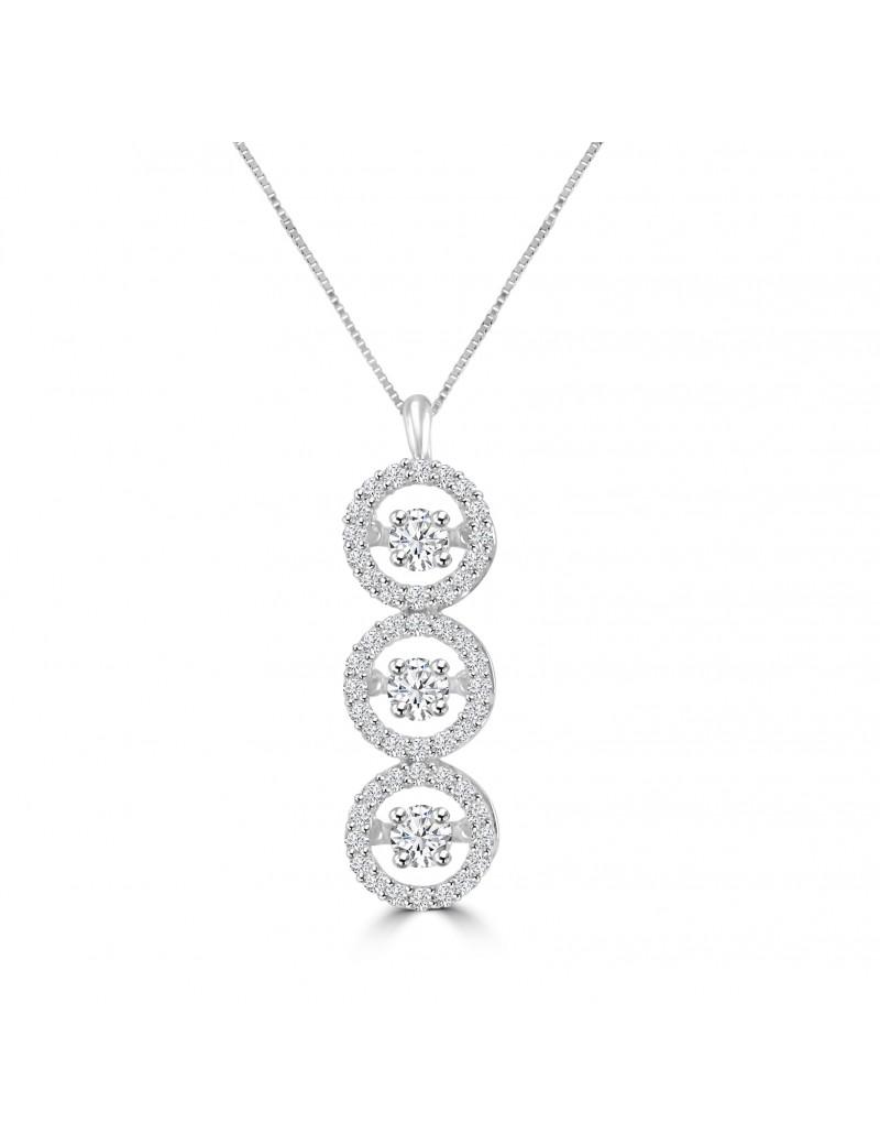 ede60efb05b07 1.00ct 3 Halo Circle Dancing Diamond 14k White Gold Drop Pendant ...